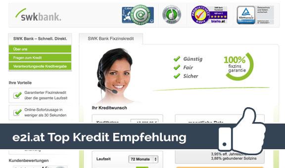 Kreditrechner Testsieger  Swk Bank Kredit